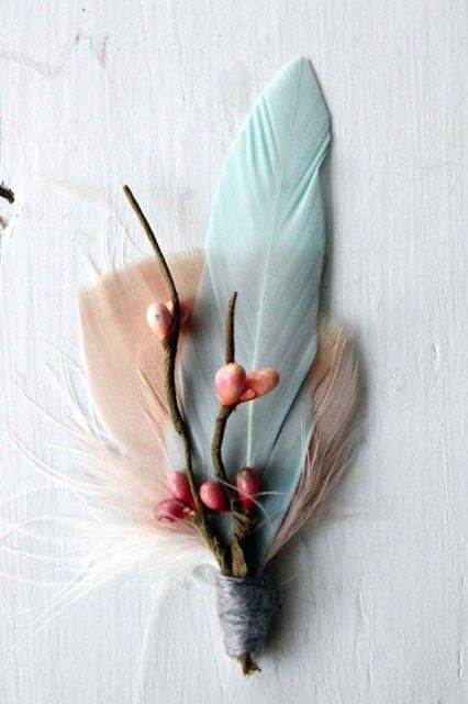 pastel feathers and berries will accent your buttonhole in a chic and creative way