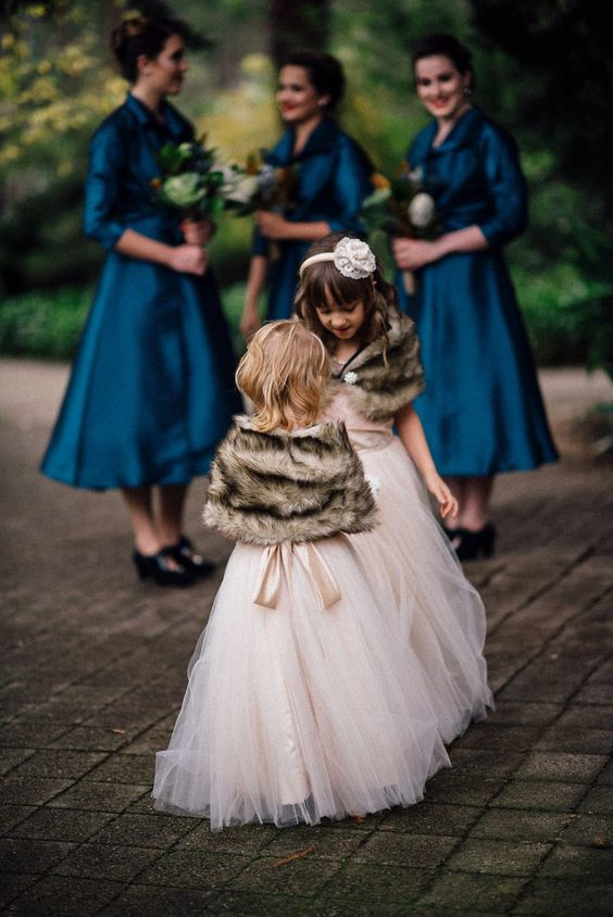 pink maxi dresses with tutu skirts, faux fur coverups for chic and refined flower girl dresses