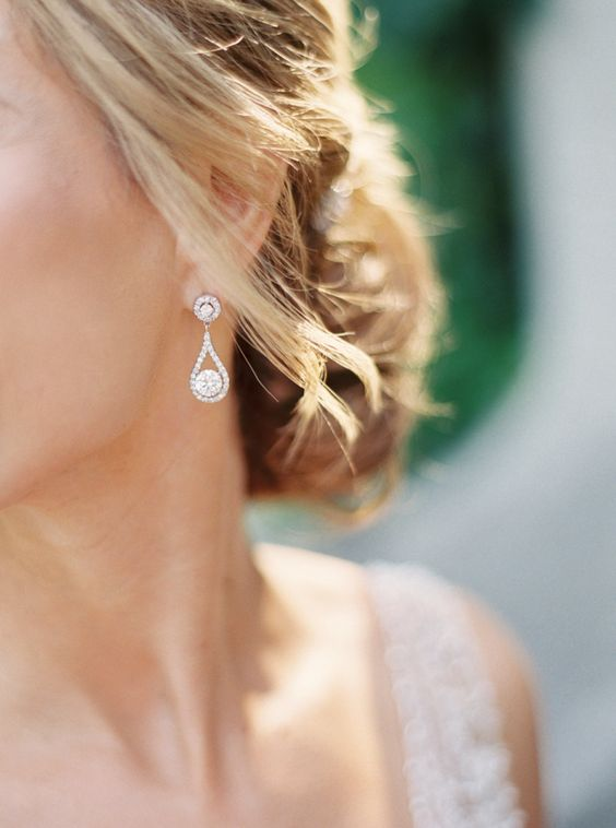 pretty teardrop earrings are subtle and sophisticated and will fit many bridal styles
