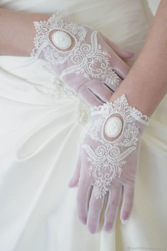 refined white tulle gloves with embroidery and appliques with pearls look romantic