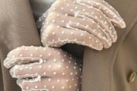 white mesh gloves with polka dots look chic and romantic and will give a refined girlish feel to your look