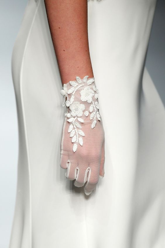 white tulle gloves with floral and botanical appliques are a fresh take on classics with a girlish feel