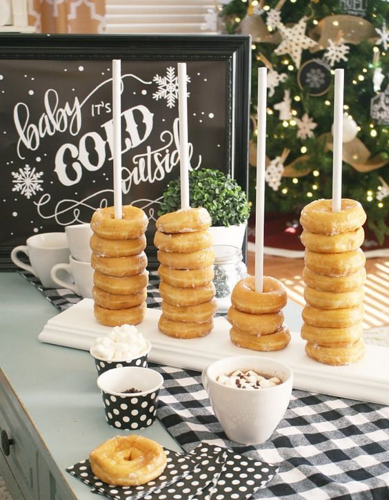 a cool and cute donut stacker is a nice and trendy idea for your wedding hot chocolate bar