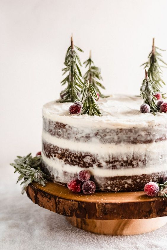 a naked chocolate wedding cake with sugared cranberries and mini trees of rosemary for a winter wedding
