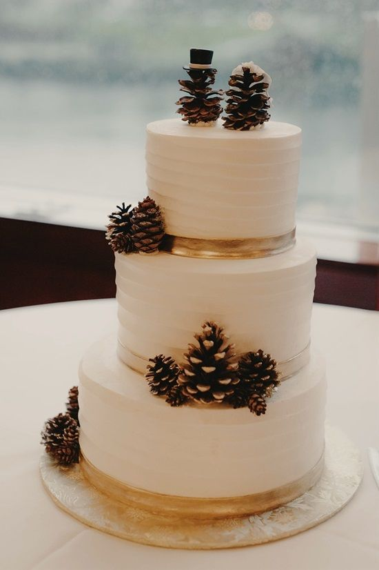 a textural white wedding cake topped with lots of snowy pinecones for a cozy rustic wedding