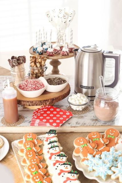 a cool cookie bar with hot chocolate and cocoa