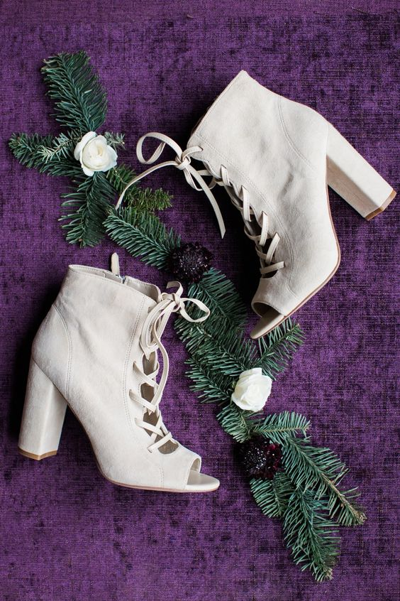 white suede peep toe lace up booties are great for a winter bride