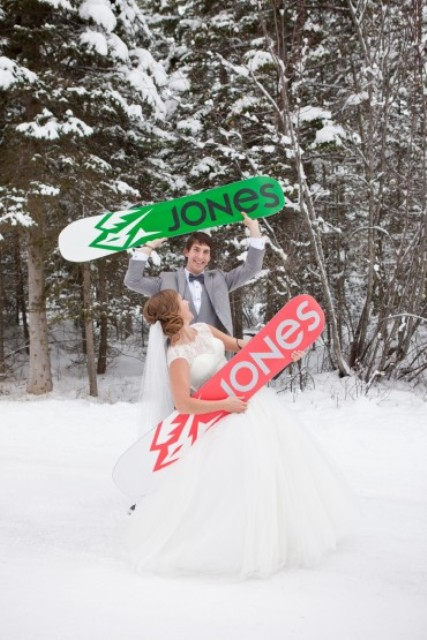 make wedding potraits with your snowboards writign your new second name on them