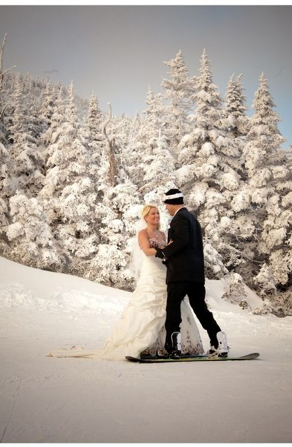 wedding portraits right on the mountain, in the snowy setting and with snowboards