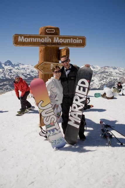 take pics with your snowboards writing Just Married on them to highlight that you've just hitched