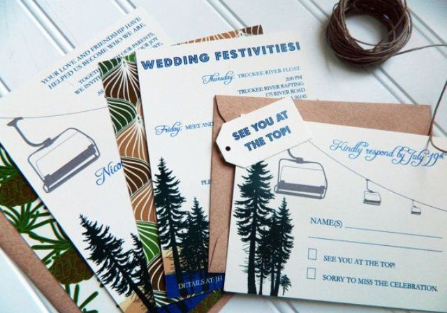 a ski resort wedding invitation suite with fir trees and other related prints plus kraft paper envelopes is cool