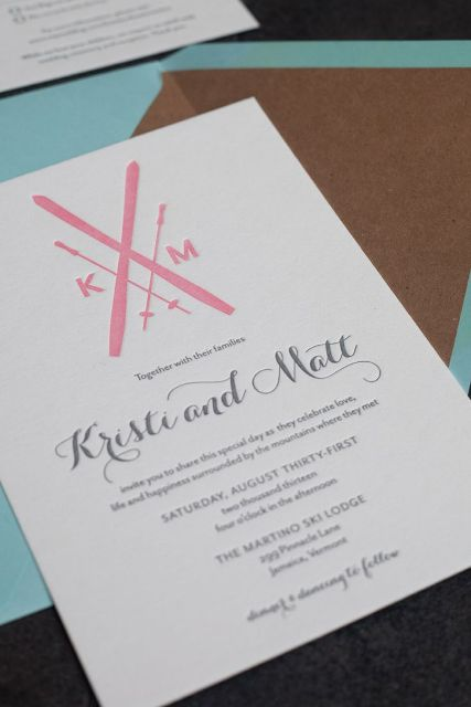 a ski resort wedding invitation with pink printing is cool, modern and bold and can be rocked anytime