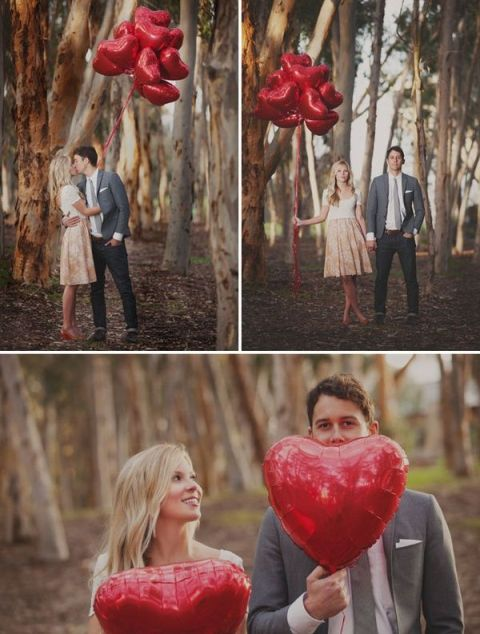 heart-shaped balloons will mark your Valentine engagement in a very cute and chic way