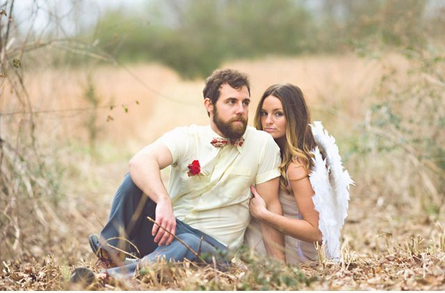 angel wings and a tee with a heart for a fun Valentine engagement look