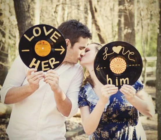 a bit of personalized vinyl will never spoil your Valentine engagement pics
