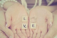 scrabble and an engagement ring for a lovely and romantic pic on Valentine's Day