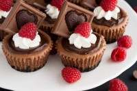 chocolate fudge cupcakes with frosting, chocolate pieces and raspberries are lovely sweet appetizers or desserts for a Valentine's Day wedding
