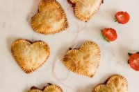 heart-shaped pies with strawberries are lovely wedding desserts or sweet late night snacks for a Valentine wedding