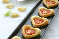 heart-shaped tartlets with tomatoes on top are amazing for Valentine weddings and jsut for Valentine's Day