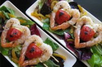 pretty heart-shaped grilled shrimp and tomato appetizers for a Valentine wedding