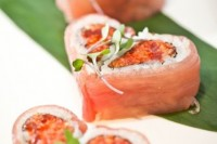 heart-shaped salmon hearts filled with seafood are adorable Valentine's Day wedding appetizers