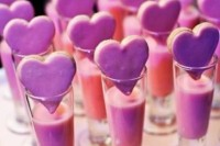 pink milk and pink heart-shaped cookies are gorgeous late night snacks for a Valentine's Day wedding