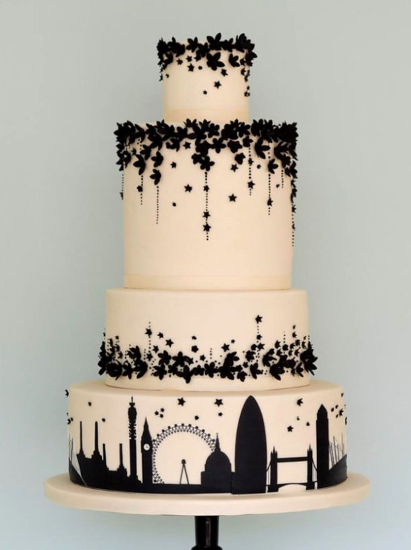 an elegant neutral and black wedding cake with a tier featuring the views of London