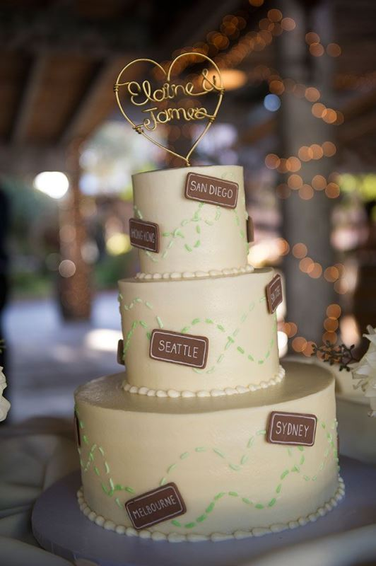 a white wedding cake with green decor and names of your couple's favorite cities is a cool and simple idea