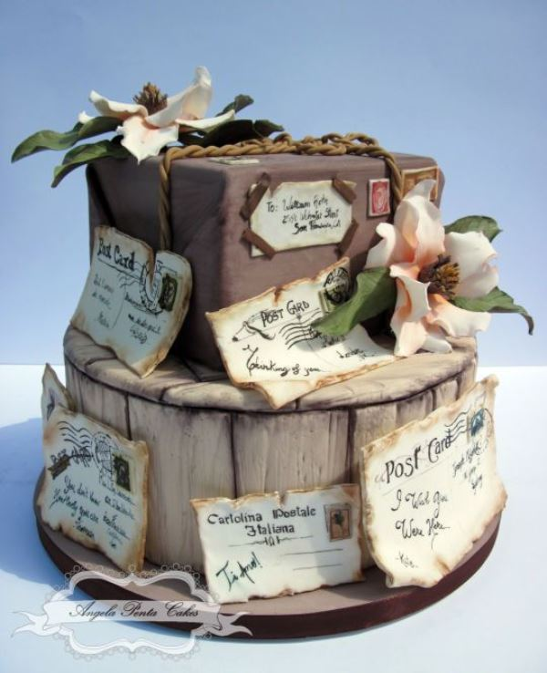 a wedding cake imitating a pack on a tree stump and lots of postcards and letters sent to you