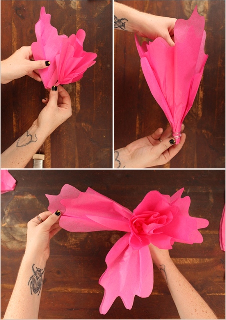 Picture Of Colorful DIY Paper Flower Backdrop For Your Wedding 6