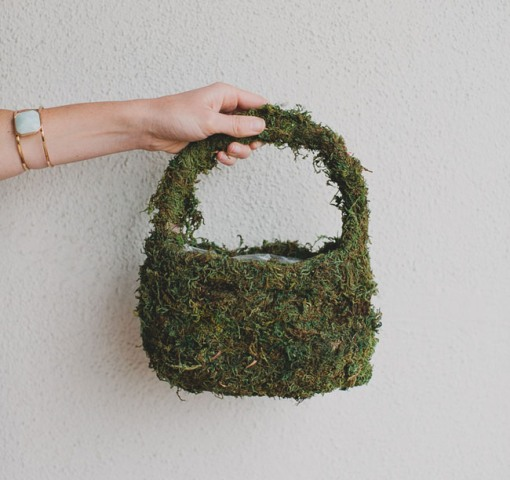 DIY Flower Girl Basket With Moss And Silk Flowers