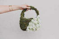 DIY Flower Girl Basket With Moss And Silk Flowers5