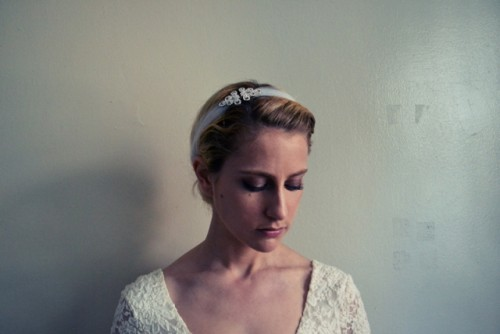 DIY Stretchy Rhinestone Headband For A Bride