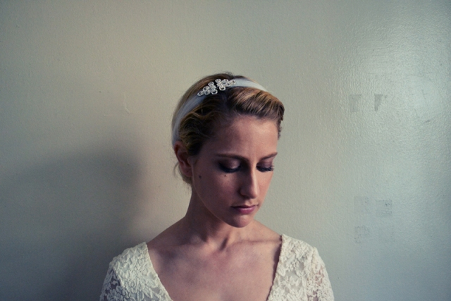 Picture Of DIY Stretchy Rhinestone Headband For A Bride 7