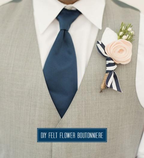 Rustic DIY Felt Flower Boutonniere