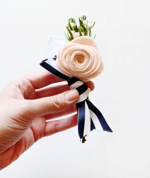 Original DIY Felt Flower Boutonniere
