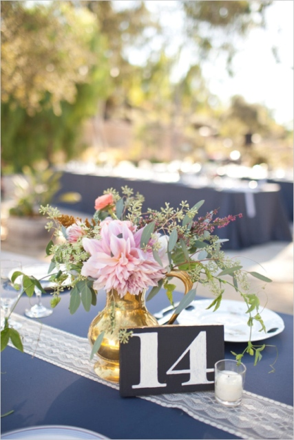 Picture Of Simple DIY Shining Wedding Table Numbers 10