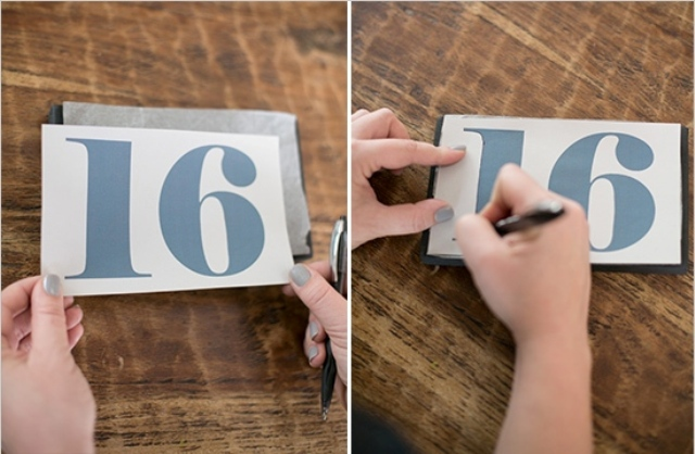 Picture Of Simple DIY Shining Wedding Table Numbers 5