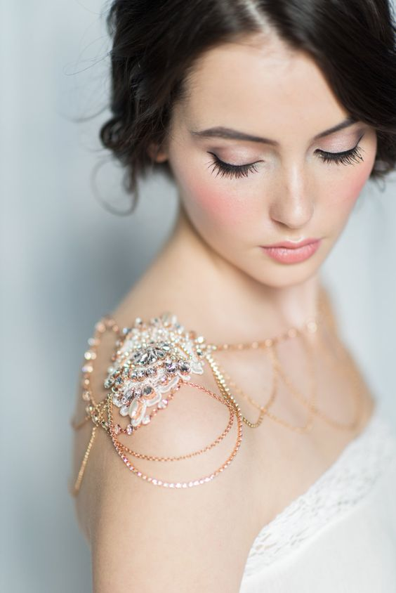 a beautiful rose and lemon gold shoulder necklace with lace and rhinestones is all elegant and very chic