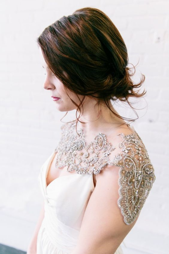 a fantastic shoulder necklace of lace, rhinestones and beads will accent your bridal look in a very creative way