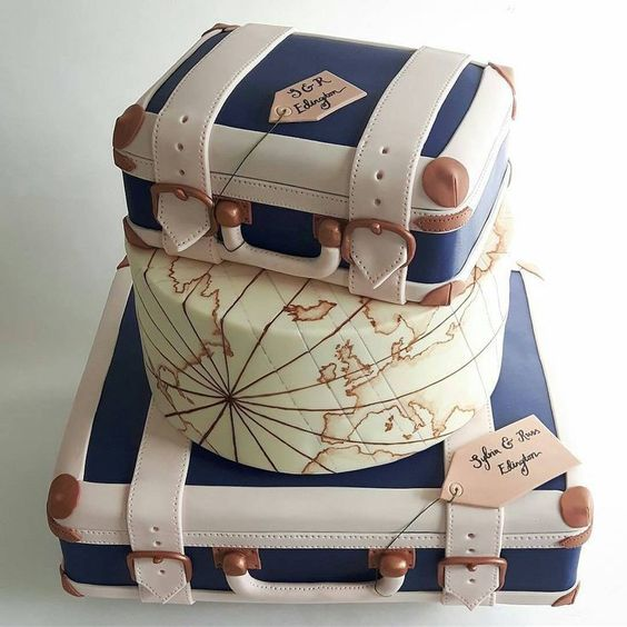 a unique wedding cake showing off two vintage suitcases and a tier with a world map plsu a tag