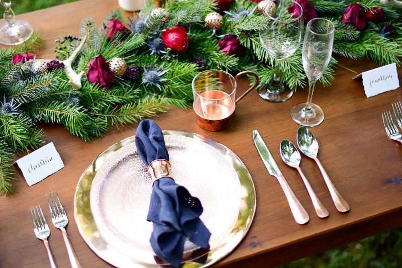 Picture Of charming woodsy christmas themed wedding  2