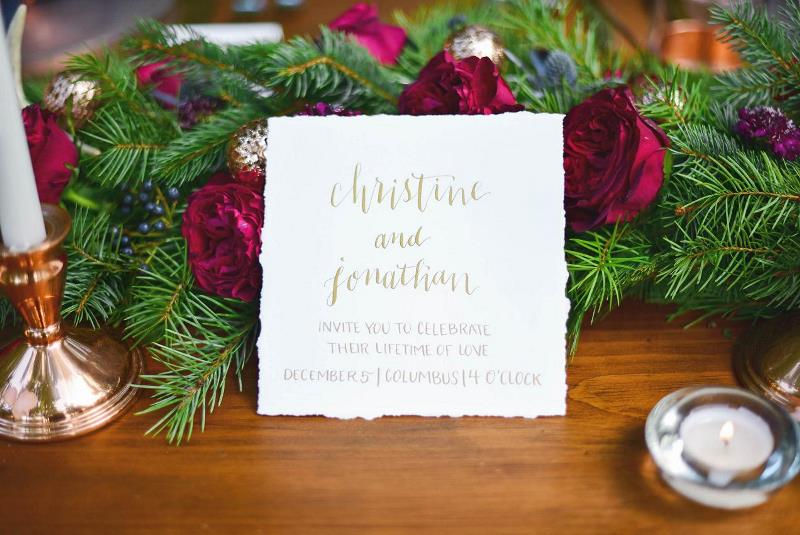 Picture Of charming woodsy christmas themed wedding  8