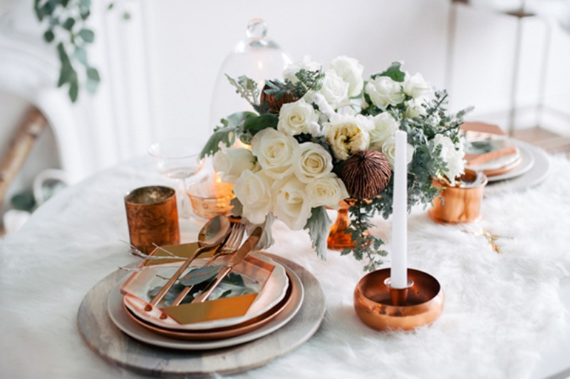 Picture Of eclectic white and copper winter wedding  10