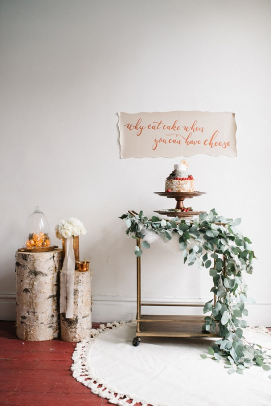Picture Of eclectic white and copper winter wedding  12