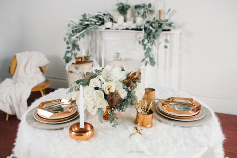 Picture Of eclectic white and copper winter wedding  2