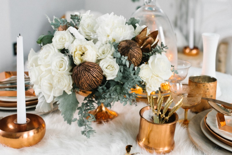 Picture Of eclectic white and copper winter wedding  4