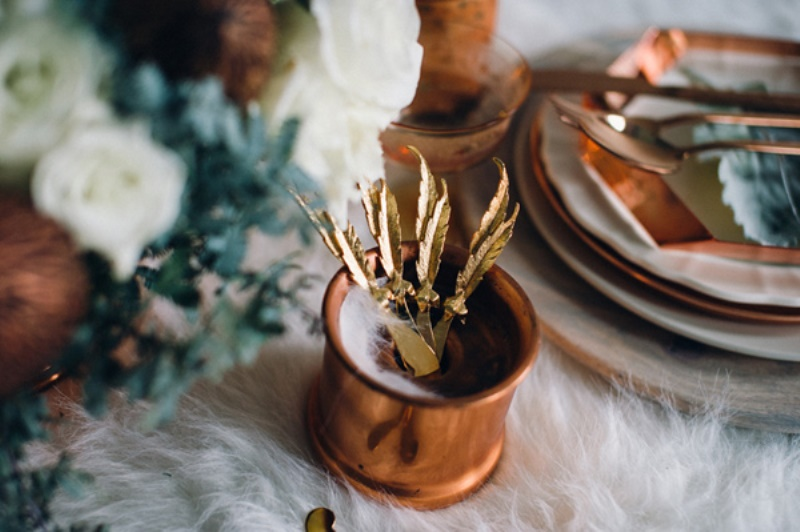 Picture Of eclectic white and copper winter wedding  5