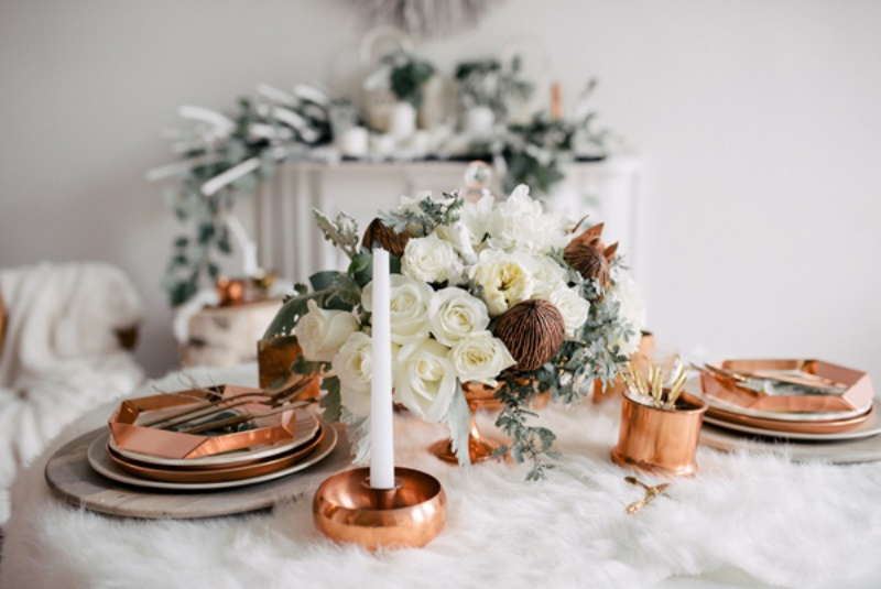 Picture Of eclectic white and copper winter wedding  7