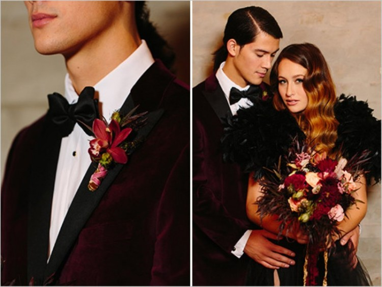 Edgar Allen Poe Inspired Moody Black, Gold And Red Wedding Inspiration